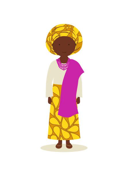 Nigerian traditional clothing for women vector art illustration
