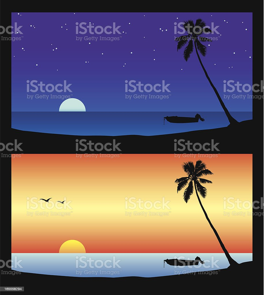 Night and Day Beach Scene. royalty-free stock vector art