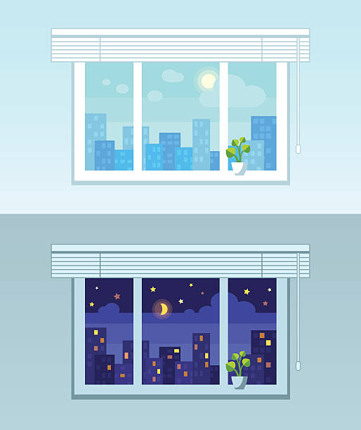 night and day city view - store stock illustrations