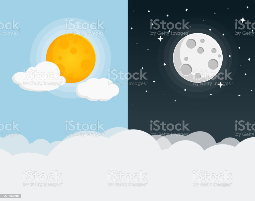 nuit et jour Design plat - Illustration vectorielle