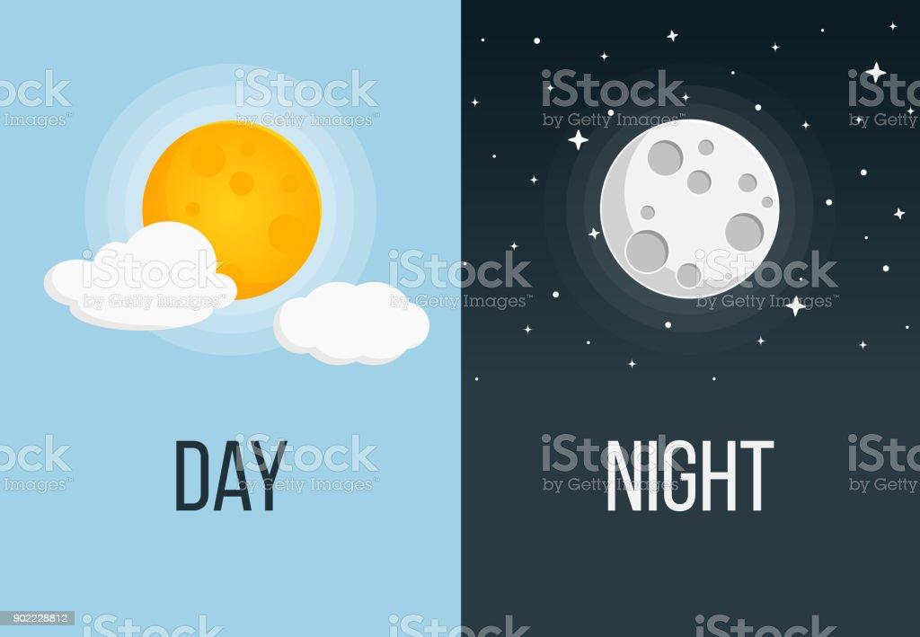 dia e noite Flat Design - ilustração de arte em vetor