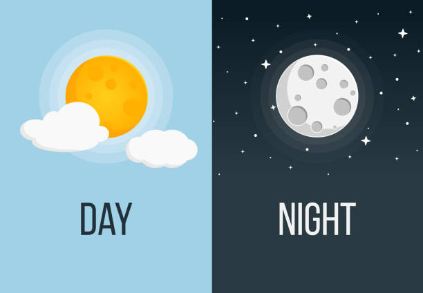 night and day flat design - moon stock illustrations, clip art, cartoons, & icons