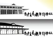 Silhouette illustration of a crowd of people walking in and out of a building