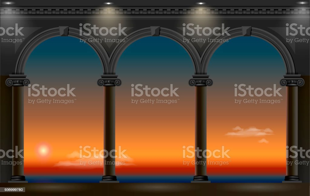 Night arch of the palace vector art illustration
