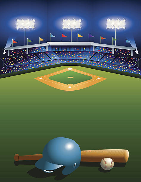 Night at the Ballgame! vector art illustration