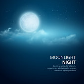 Night background, Moon, Clouds and shining Stars on  blue sky