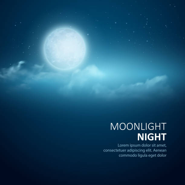 night background, moon, clouds and shining stars on  blue sky - moon stock illustrations, clip art, cartoons, & icons