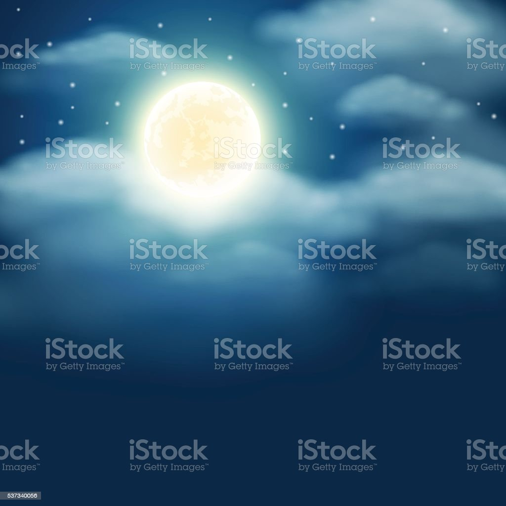 Night background with moon, stars and clouds on sky vector art illustration