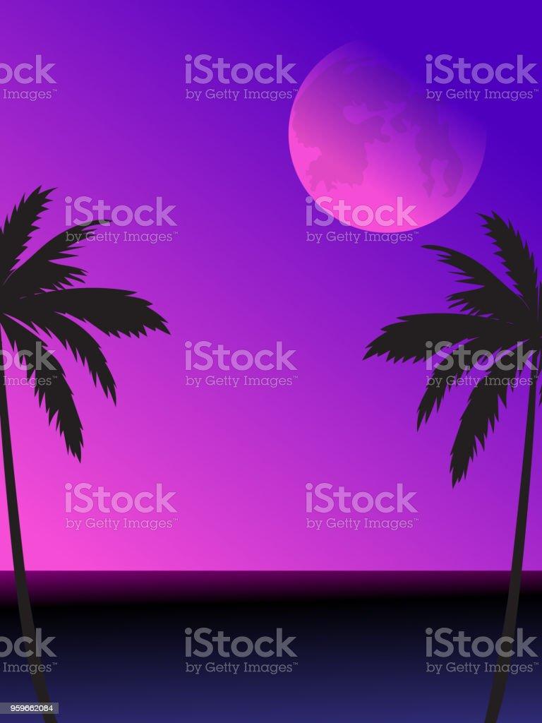 Escena de la playa de noche con luna llena y Palma árboles siluetas - arte vectorial de Abstracto libre de derechos