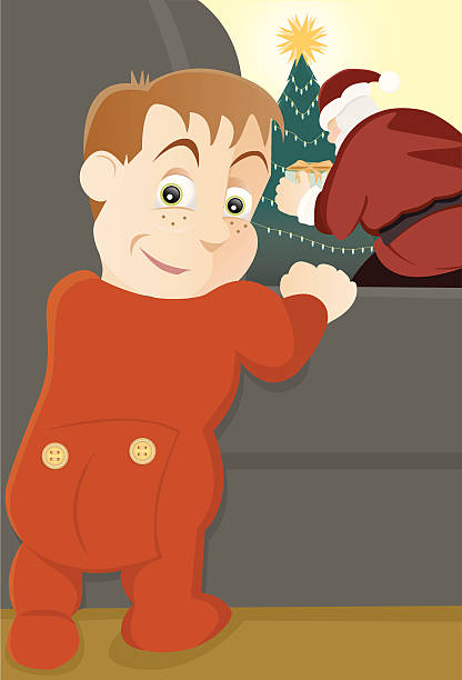 illustrazioni stock, clip art, cartoni animati e icone di tendenza di la notte prima di natale - santa claus tiptoeing