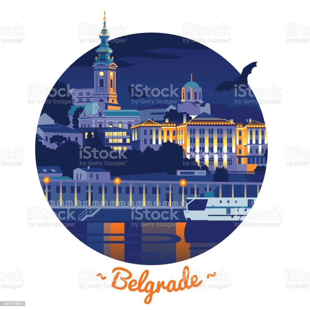 Night Belgrade vector illustration vector art illustration