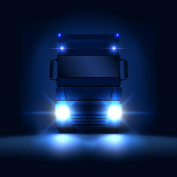 illustrations, cliparts, dessins animés et icônes de nuit semi gros camion avec phares lumineux et sec van semi à cheval sur la vue de face de fond noir nuit, illustration vectorielle - voiture nuit