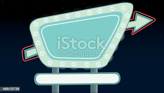 A retro style billboard with glowing neon lights at night.