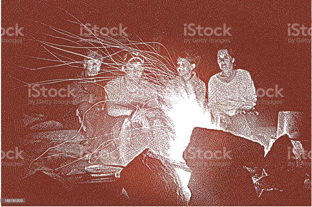 Night Campfire vector art illustration