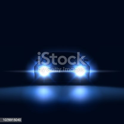 Night car with bright headlights approaching in the dark, silhouette of car with xenon headlights in the showroom, vector illustration