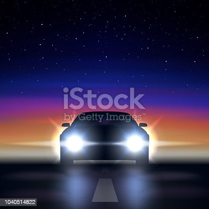 Night car with headlights against the background of a colorful starry sky, approaching along a dark road, the silhouette of a car with bright xenon and led headlights, vector illustration