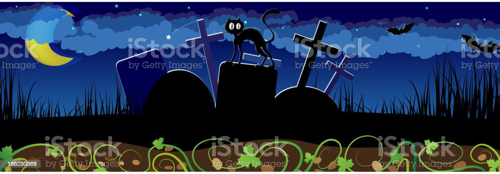 Night cemetery and black cat royalty-free stock vector art