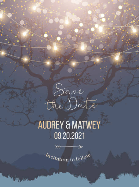 night christmas garden full of lights and snow vector design invitation frame - light through trees stock illustrations