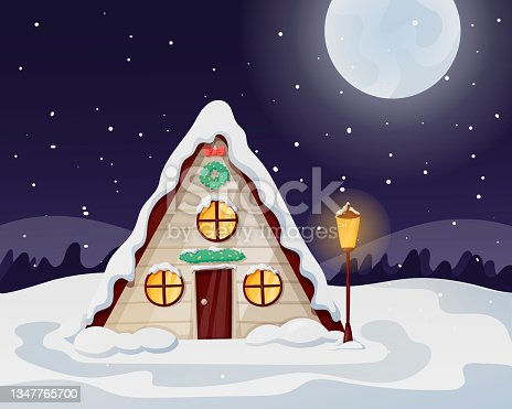 istock Night Christmas winter landscape with moon and snowfall. A cozy house with light in the windows, littered with snow and drifts. 1347765700