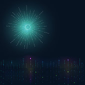 Night city background. Big data visualization. Disco rainbow colored music sound waves for equalizer or waveform design,  illustration of musical pulse. Sci fi technology digital futuristic theme.