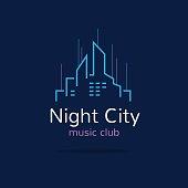 Night city emblem. Vector city skyline emblemtype.