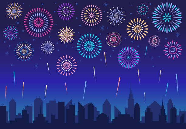 night city fireworks. holiday celebration firework, celebrated festive firecracker over town silhouette vector background - fireworks stock illustrations