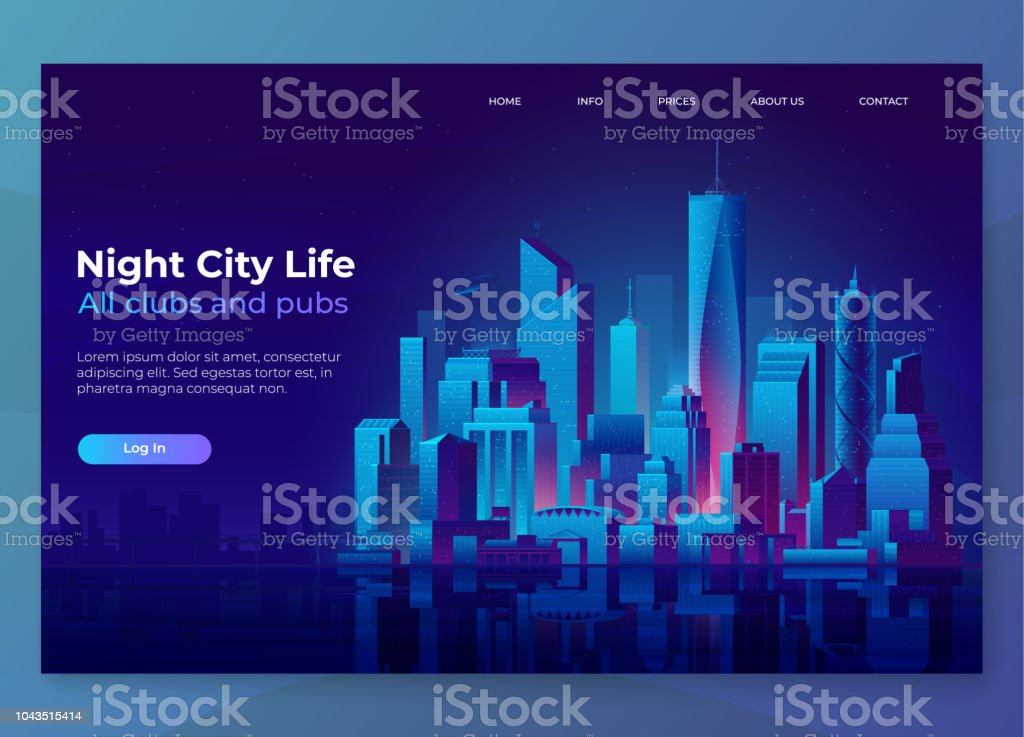 Night city illustration. Landing page concept. Modern city landscape on a dark background with glowing lights. - Векторная графика Архитектура роялти-фри