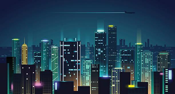 night city illustration - dusk stock illustrations