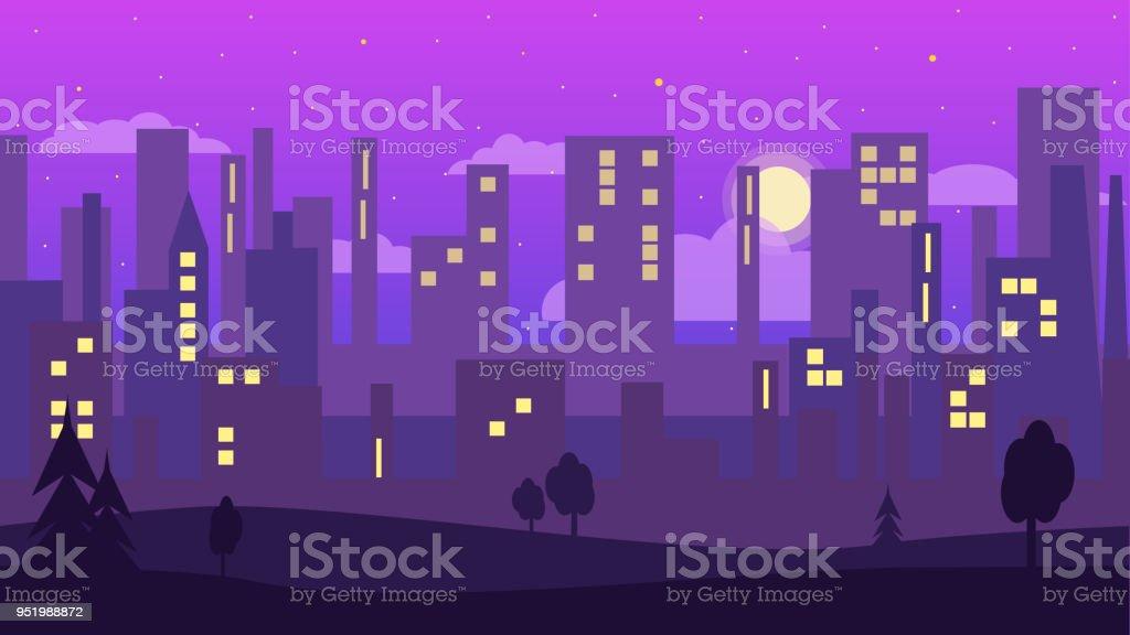 Nächtliche Stadt Im Flachen Stil. Tapete In Lila Farben. Stadtsilhouette.  Lizenzfreies Nächtliche Stadt
