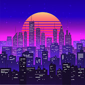 Night city landscape at purple neon retrowave or vaporwave aesthetic sunset. Skyscrapers silhouettes. Dusk cityscape. Vintage styled vector eps 10 illustration.