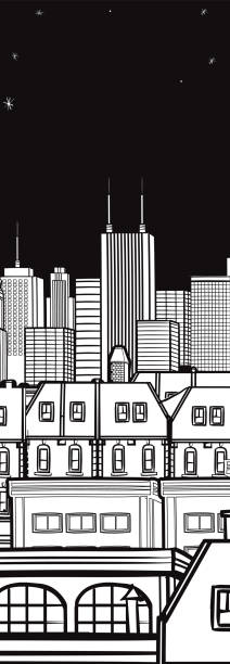 New York City Night Skyline Drawing Illustrations, Royalty ...