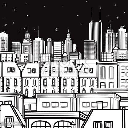 Night City Landscape Vector Illustration Drawing Black & White Square Design