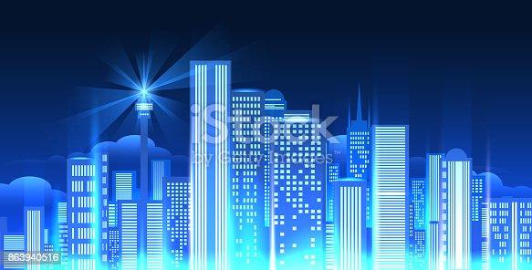 istock Night city lights panorama. 863940516