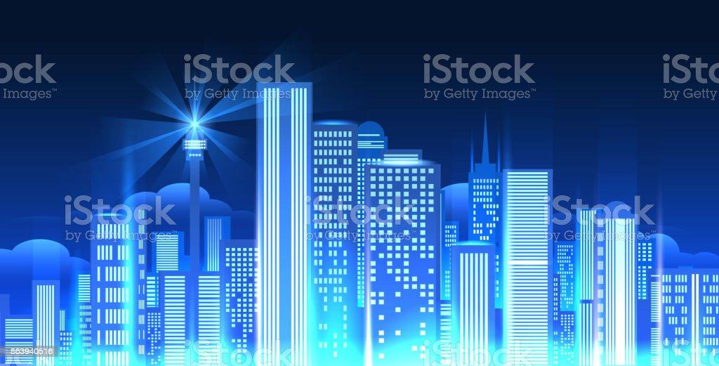 Nacht Lichter Stadtpanorama. – Vektorgrafik