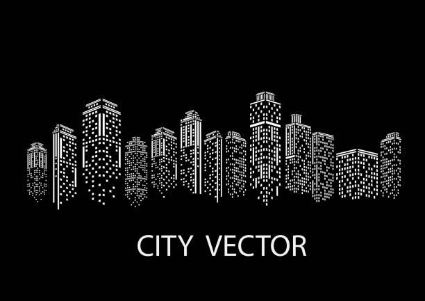 illustrations, cliparts, dessins animés et icônes de ville de nuit paysage urbain moderne. toits de la ville pendant la journée. - paysage urbain