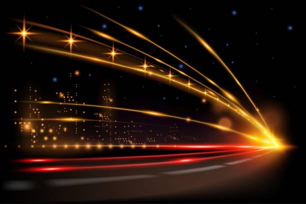 Night city road lights Night city road lights in vector urban road stock illustrations