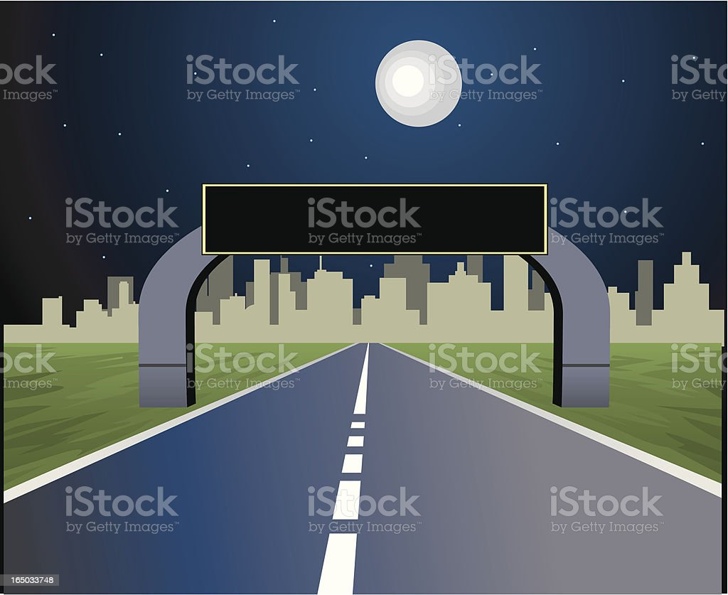 Night City Road royalty-free stock vector art
