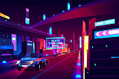 Night city road with moving cars banner, speed two-lane highway, overpass or bridge in metropolis. Transport network infrastructure with urban skyscrapers in neon colors. Cartoon vector illustration