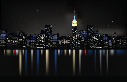 Night city sample with city lights