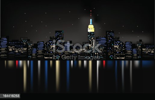 istock Night city sample with city lights 164416253