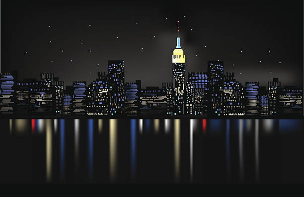 ночной город - иллюстрации на тему архитектура stock illustrations