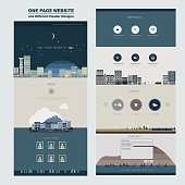 night city scene one page website design template in flat style