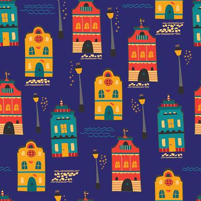 Night city seamless pattern