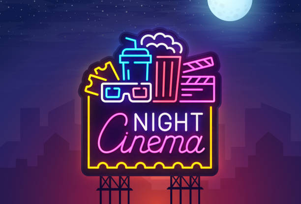 stockillustraties, clipart, cartoons en iconen met nacht stad. teken neon. cinema billboard. heldere bord, lichte banner. cinema logo. vector illustratie. - buitenopname
