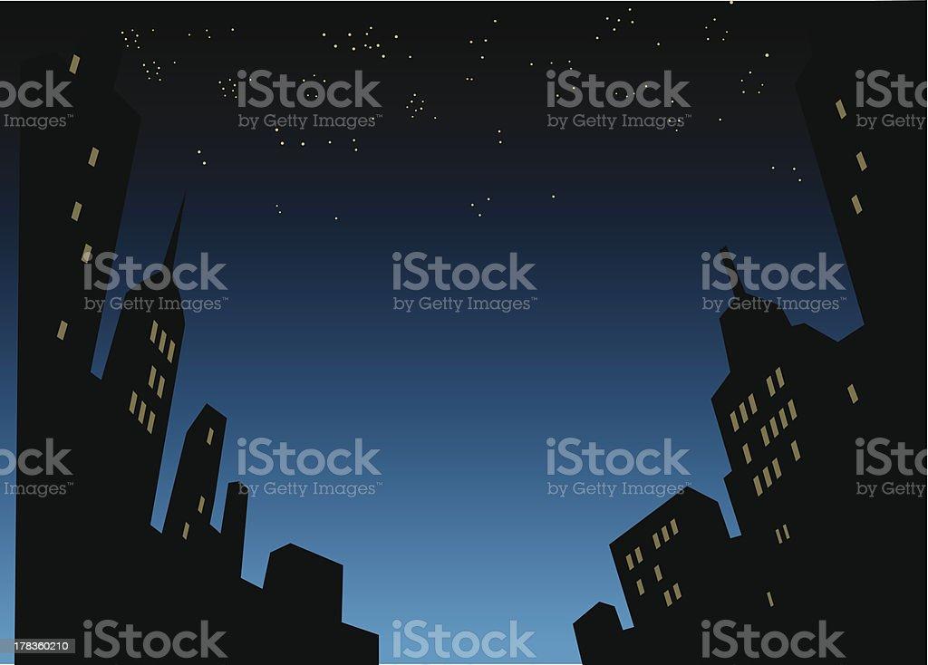 夜の街のスカイラインの背景 ベクターアートイラスト