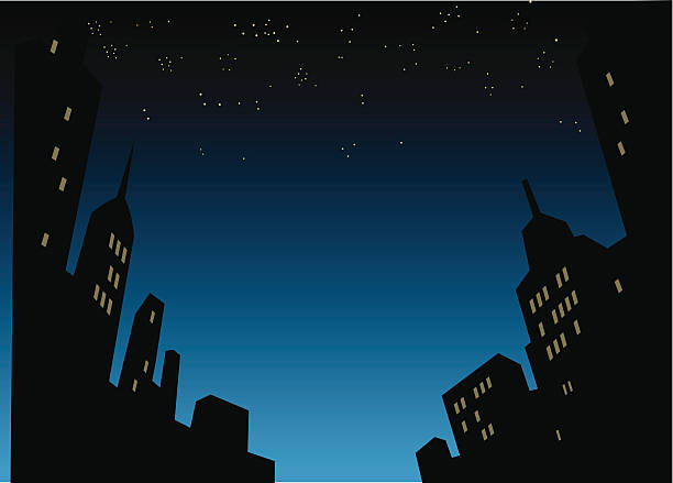 Night City Skyline Background vector art illustration