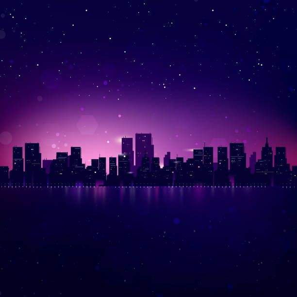 bildbanksillustrationer, clip art samt tecknat material och ikoner med night city skyline. vector cityscape background - natt