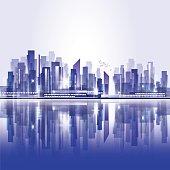 Abstract night waterfront city skyline, vector illustration