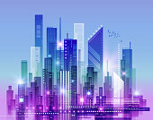 Abstract modern night cityscape