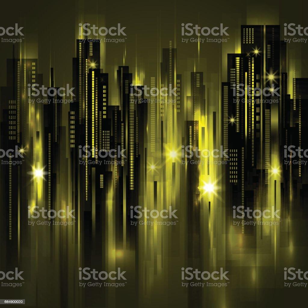 Skyline von Nacht, Vektor-illustration Lizenzfreies skyline von nacht vektorillustration stock vektor art und mehr bilder von abenddämmerung